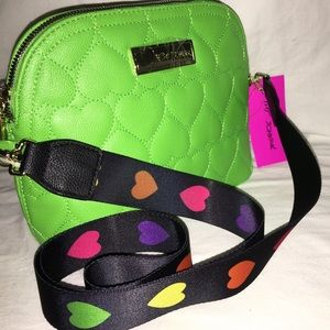 Betsey Johnson Green Quilted Heart Crossbody Bag